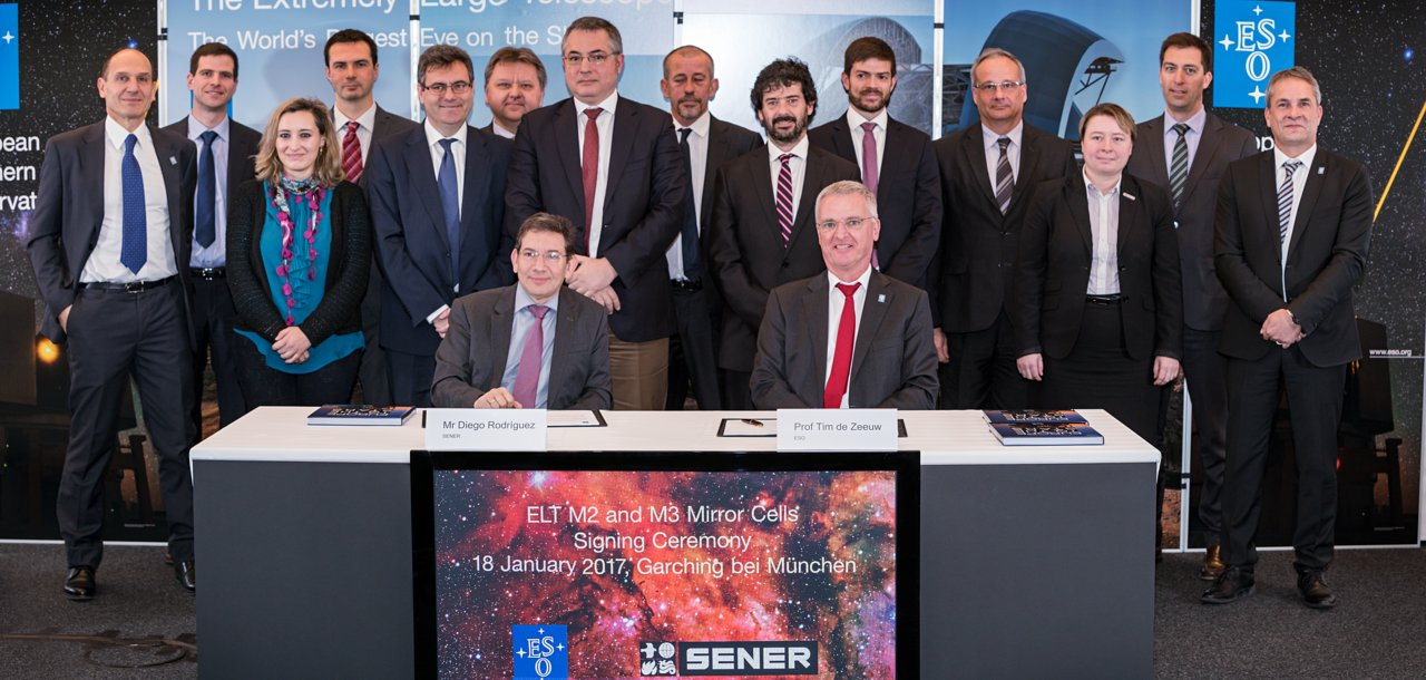 Contracts for the casting of the M2 and M3 mirrors of ESO's Extremely Large Telescope (ELT), their cells and sensors for the M1 segments were awarded at a ceremony at ESO's Garching Headquarters on 18 January 2017. The picture shows representatives of teams involved in the contract for the ELT's M2 and M3 mirror cells, both from the SENER Group and ESO.